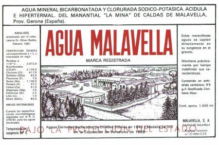 Aigua Malavella, etqueta de 1981.  Sense menció a la radioactivitat, i sense mencions sanitàries.